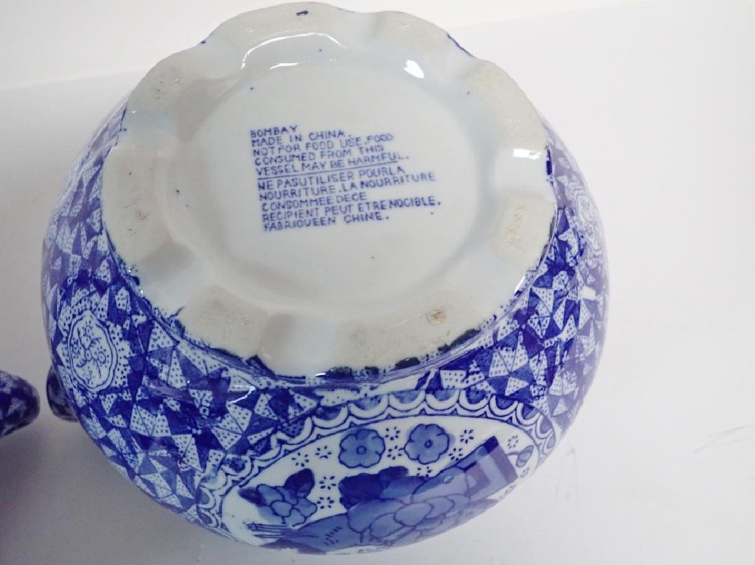 Pair Blue & White Chinese Handled Vessels - 8