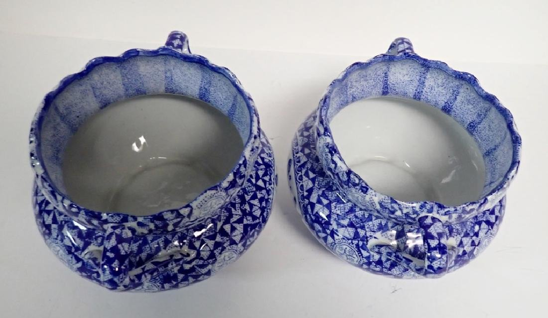 Pair Blue & White Chinese Handled Vessels - 9