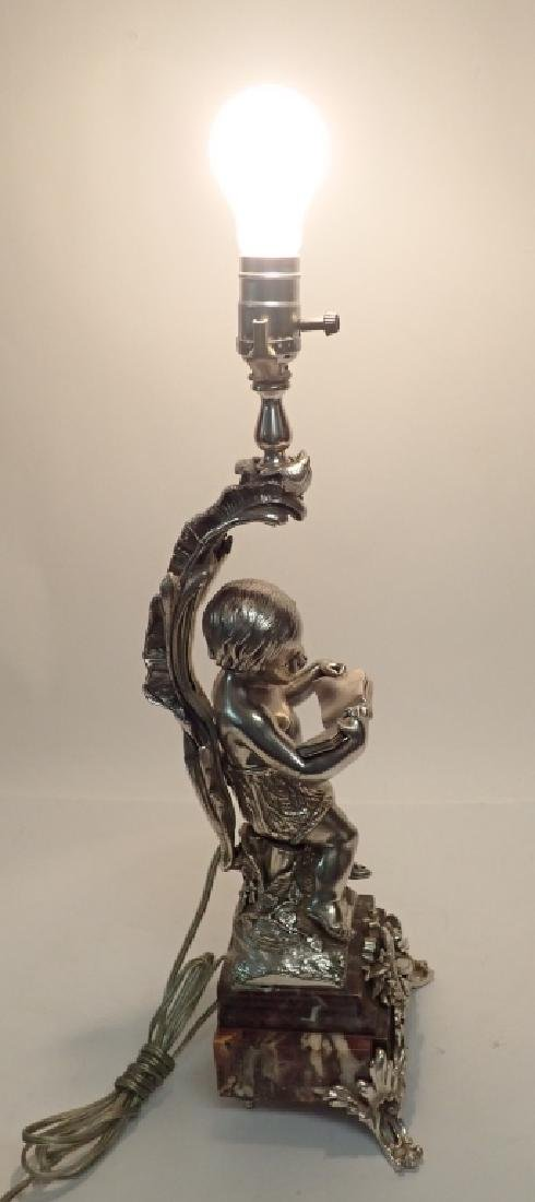 19th Century French Figural Silvered Lamp - 10