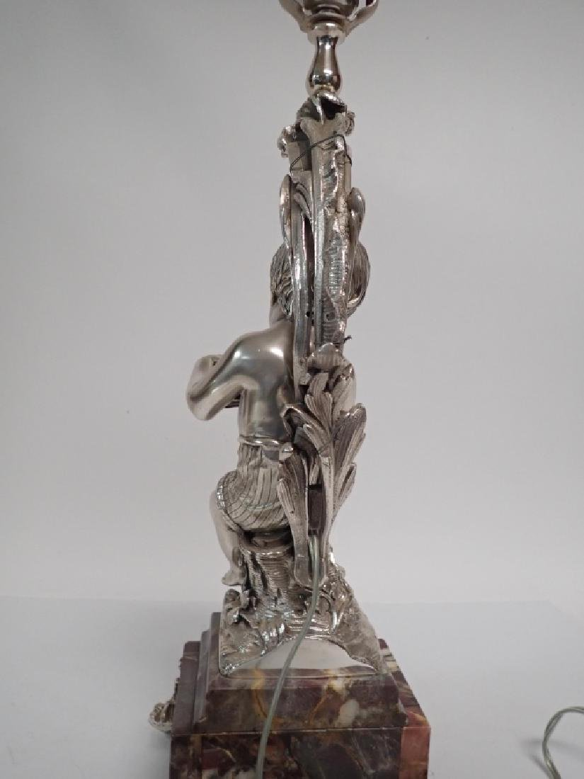 19th Century French Figural Silvered Lamp - 4