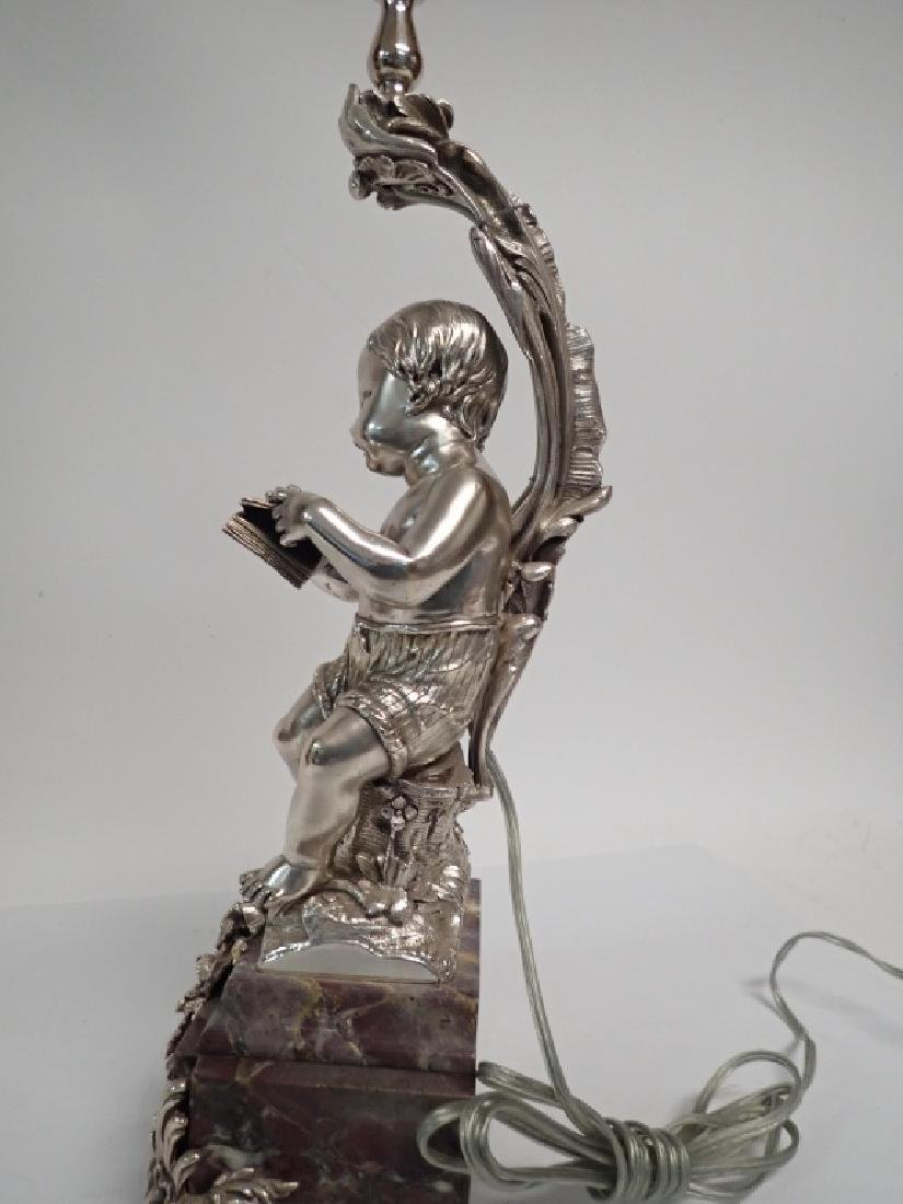 19th Century French Figural Silvered Lamp - 5