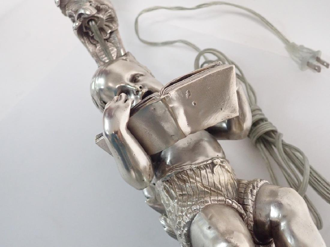 19th Century French Figural Silvered Lamp - 9