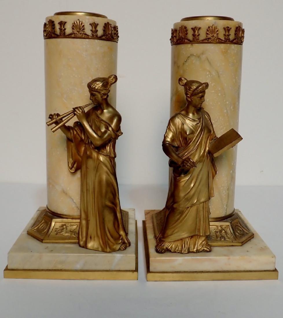 Antique Austrian Bronze Mounted Marble Vases