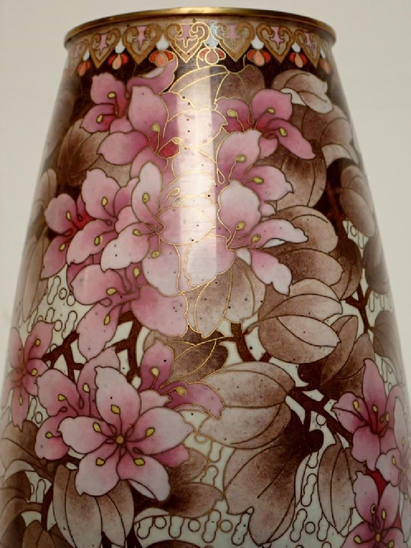 Chinese Cloisonne Vase with Floral Motif - 9