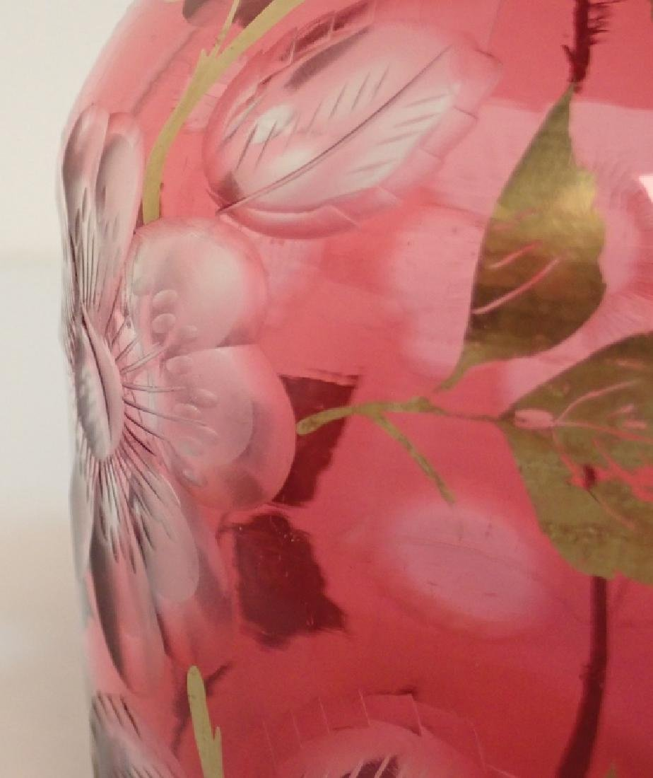 Ruby and Gilted Glass Decanter with Floral Design - 10