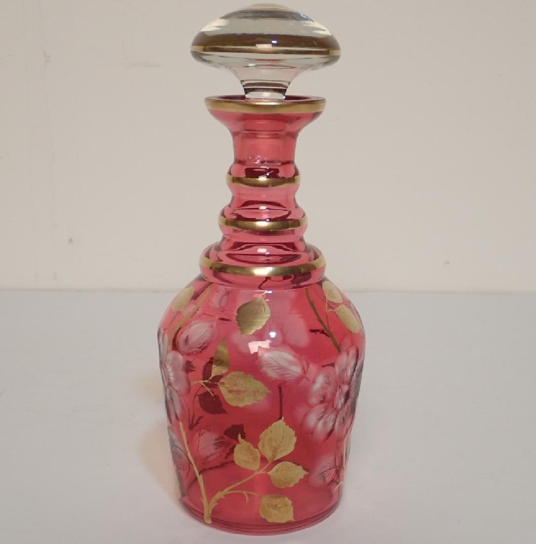 Ruby and Gilted Glass Decanter with Floral Design - 3