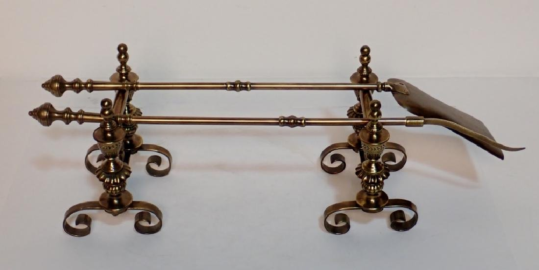 Set of Antique Brass Fire Place Tools with Stands