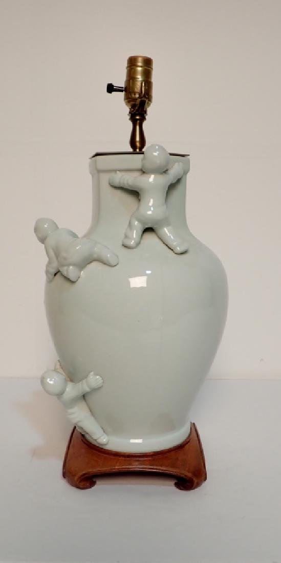 Celadon Lamp with Figural Sculptural Accents - 2