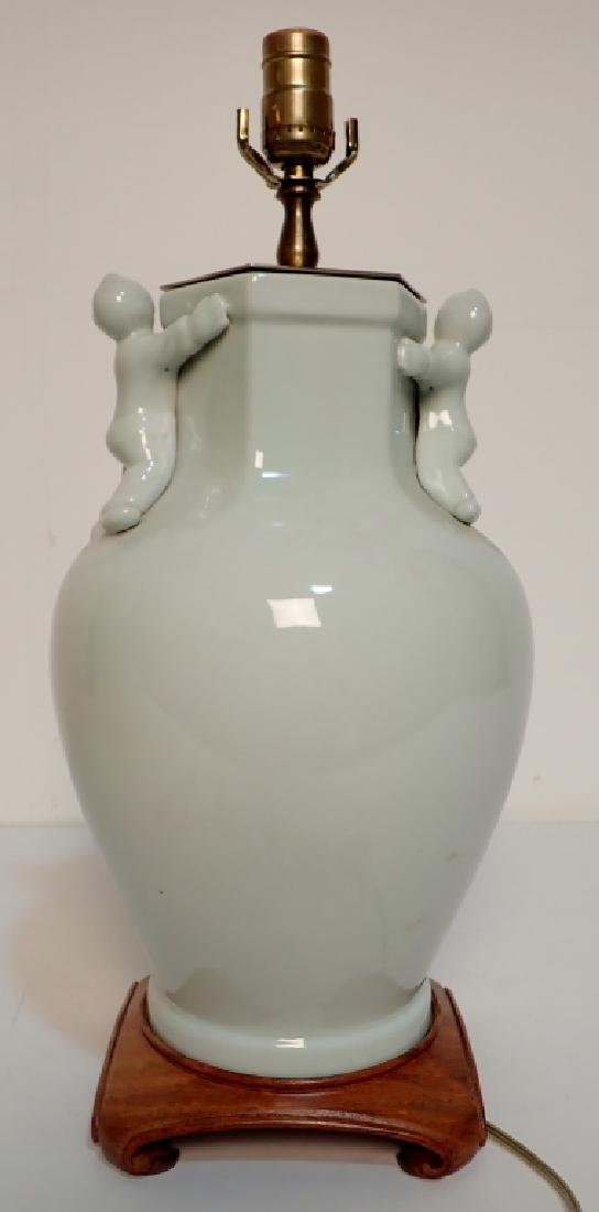 Celadon Lamp with Figural Sculptural Accents - 3