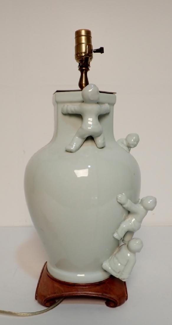 Celadon Lamp with Figural Sculptural Accents - 4