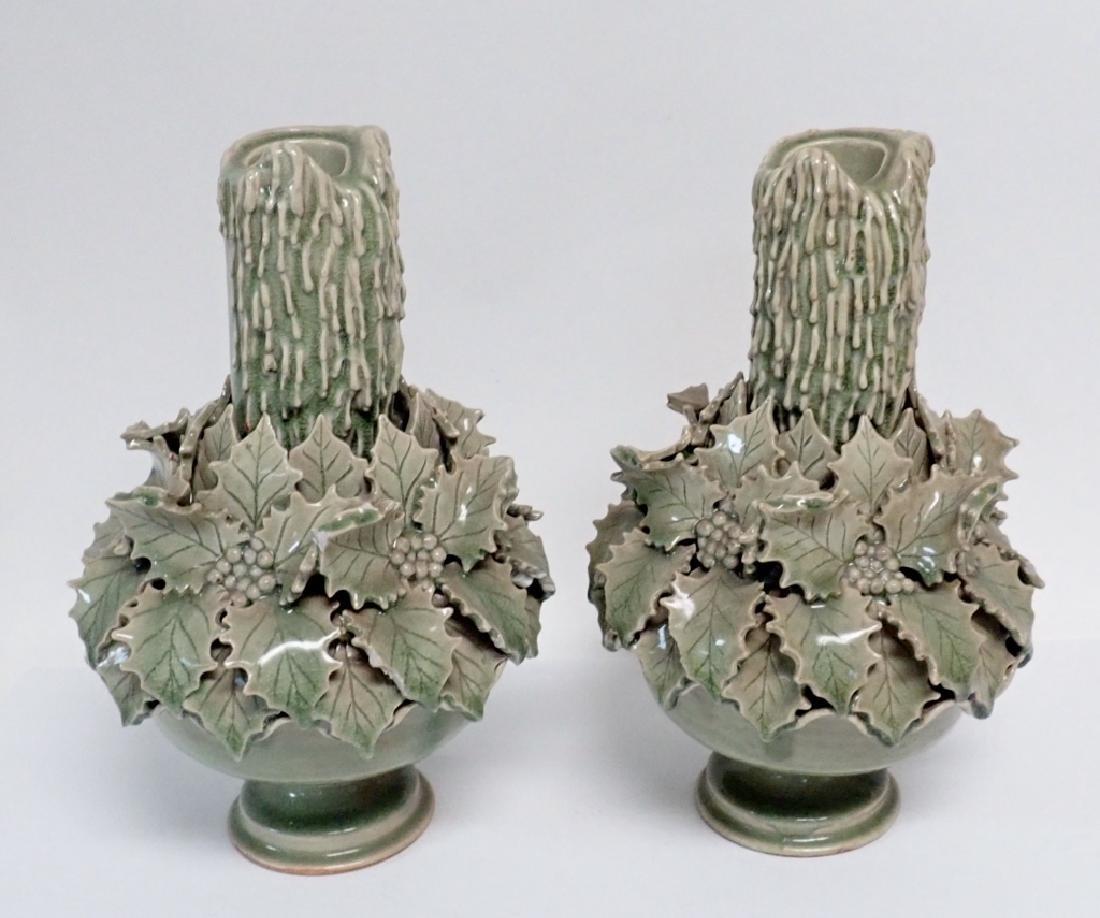 Pair of Green Glazed Candlesticks - 10