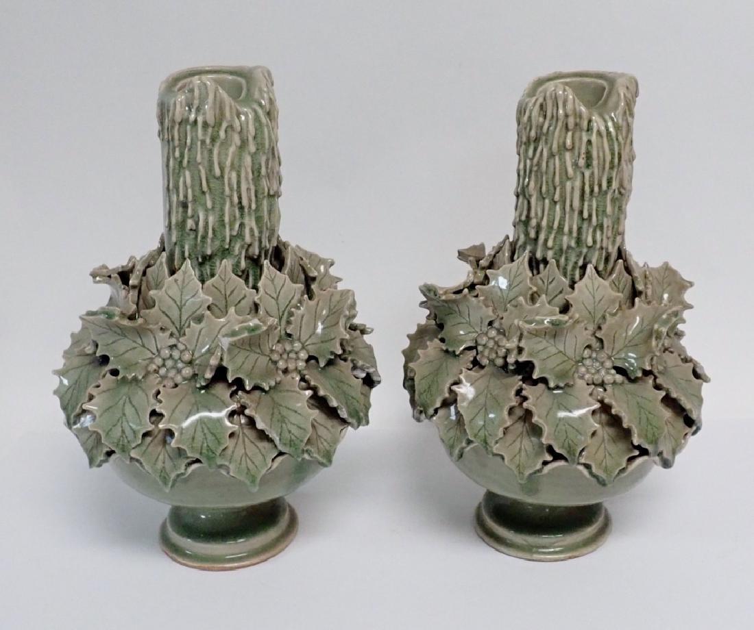 Pair of Green Glazed Candlesticks