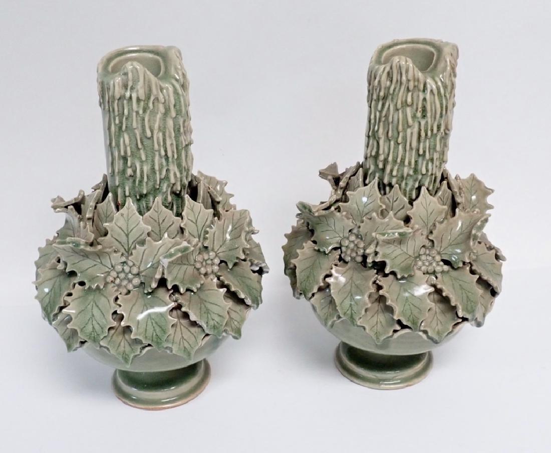 Pair of Green Glazed Candlesticks - 3