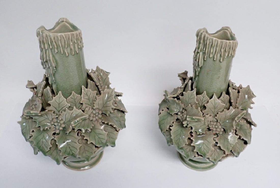 Pair of Green Glazed Candlesticks - 4