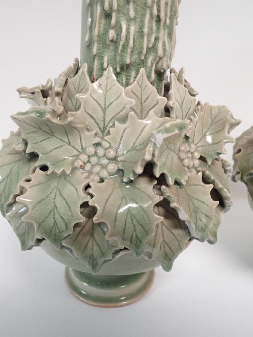 Pair of Green Glazed Candlesticks - 8