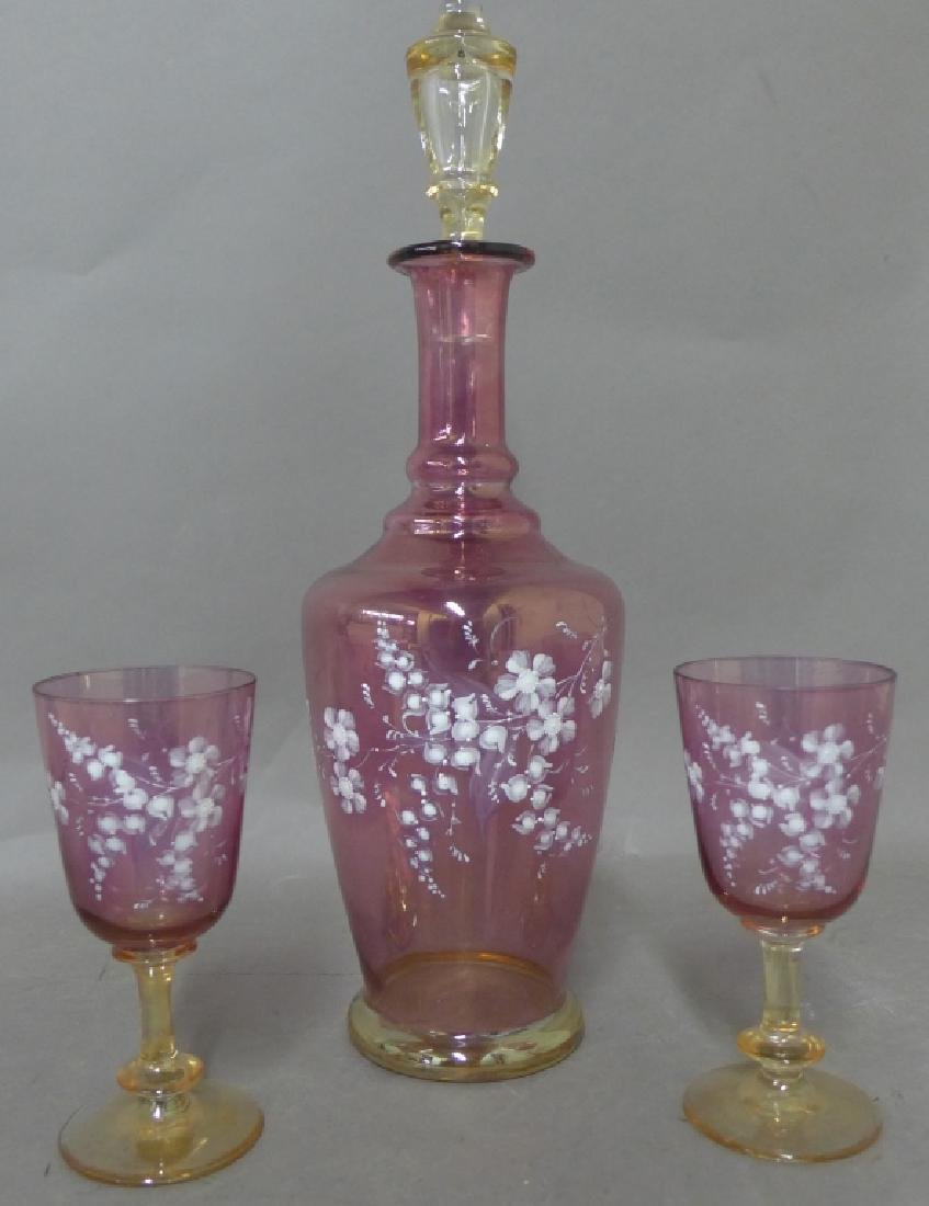 Amethyst Glass and Floral Decorated Decanter