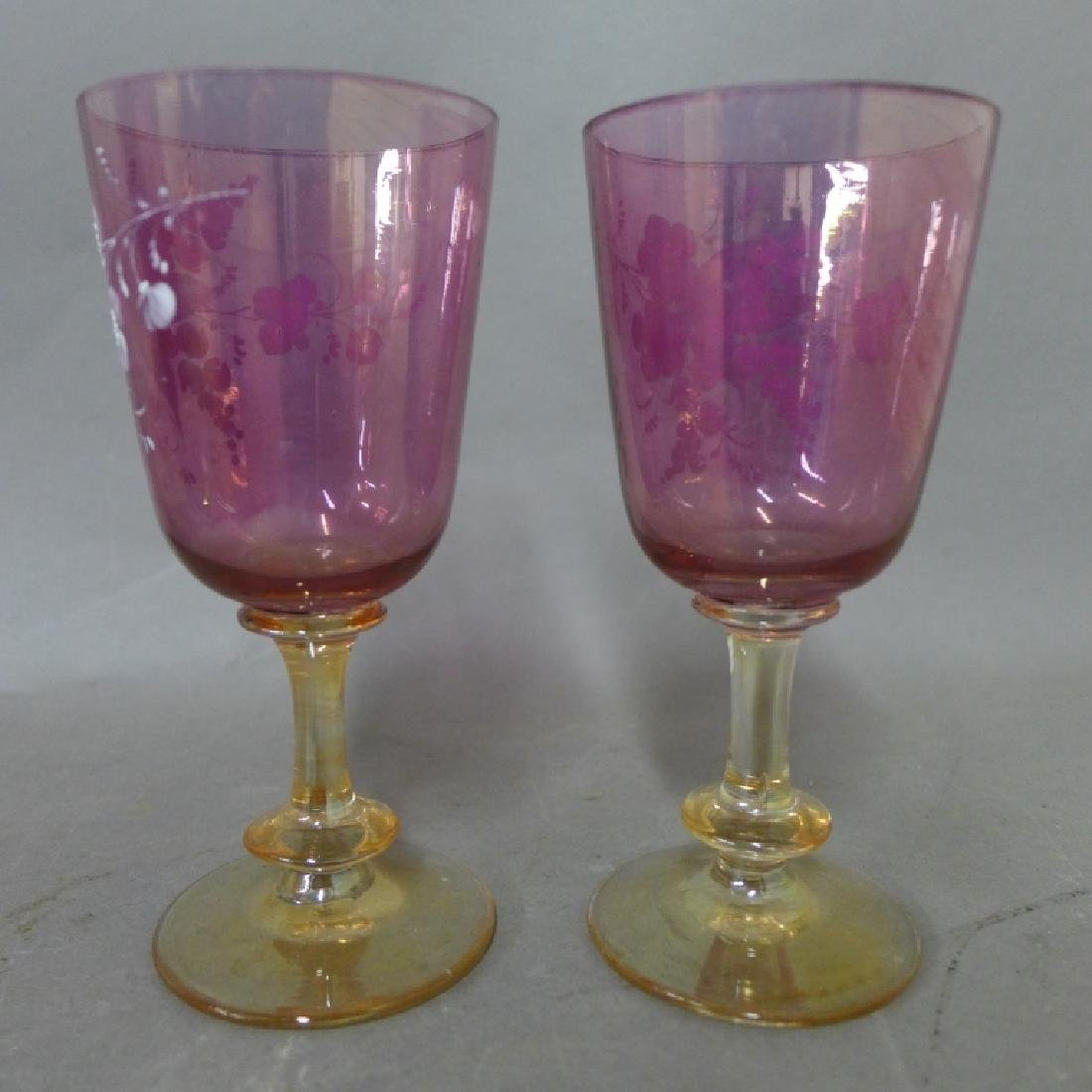 Amethyst Glass and Floral Decorated Decanter - 3