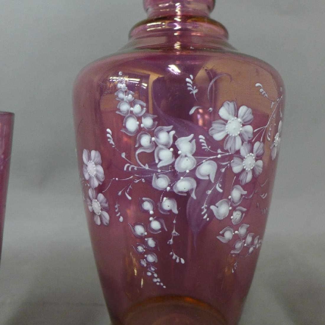 Amethyst Glass and Floral Decorated Decanter - 6