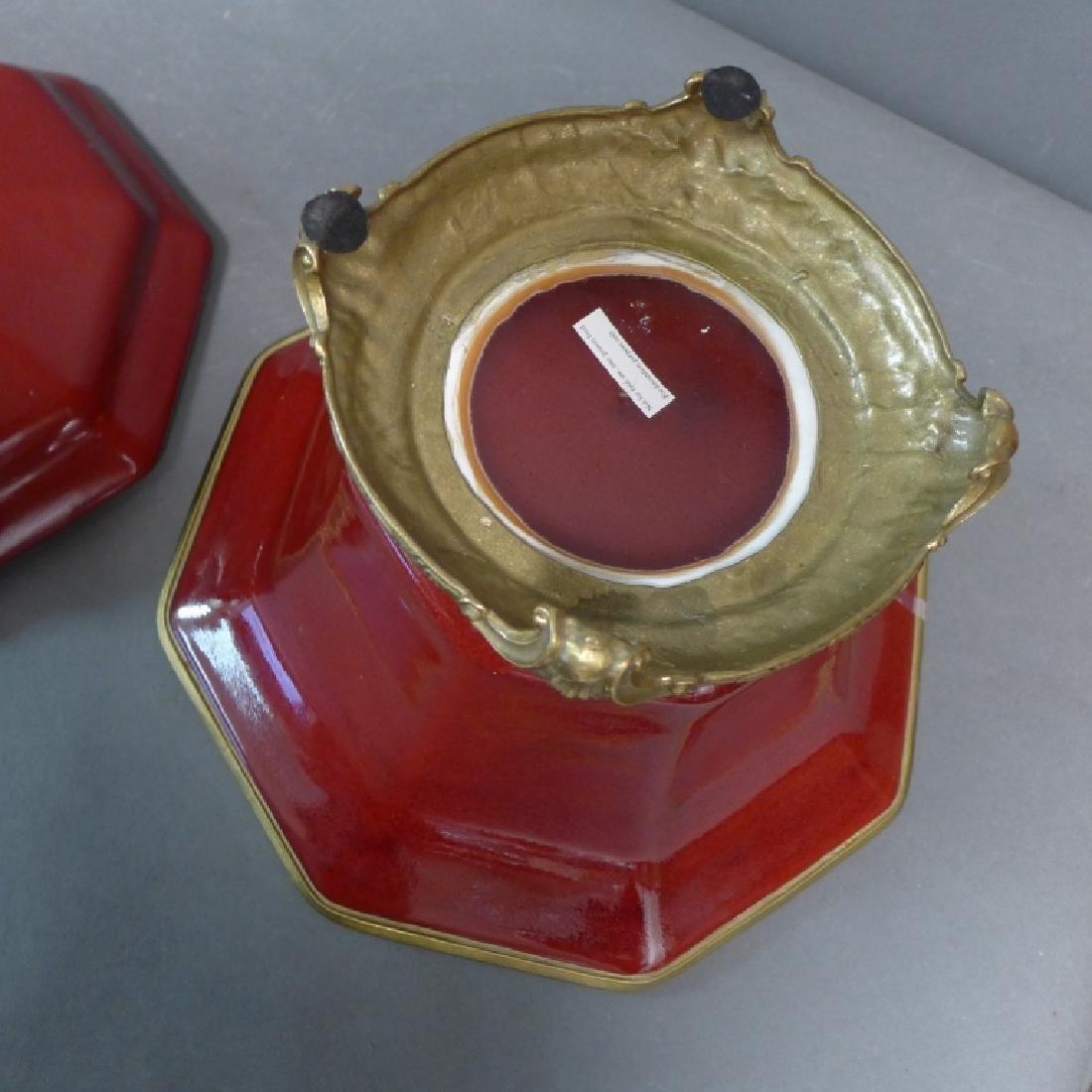 Bronze Mounted Flambe Pottery Centerpiece - 10