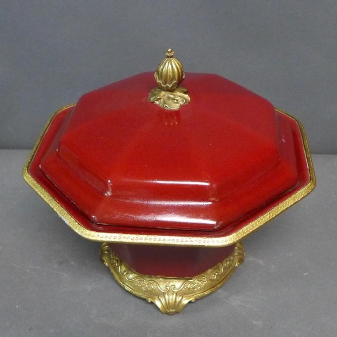 Bronze Mounted Flambe Pottery Centerpiece - 2