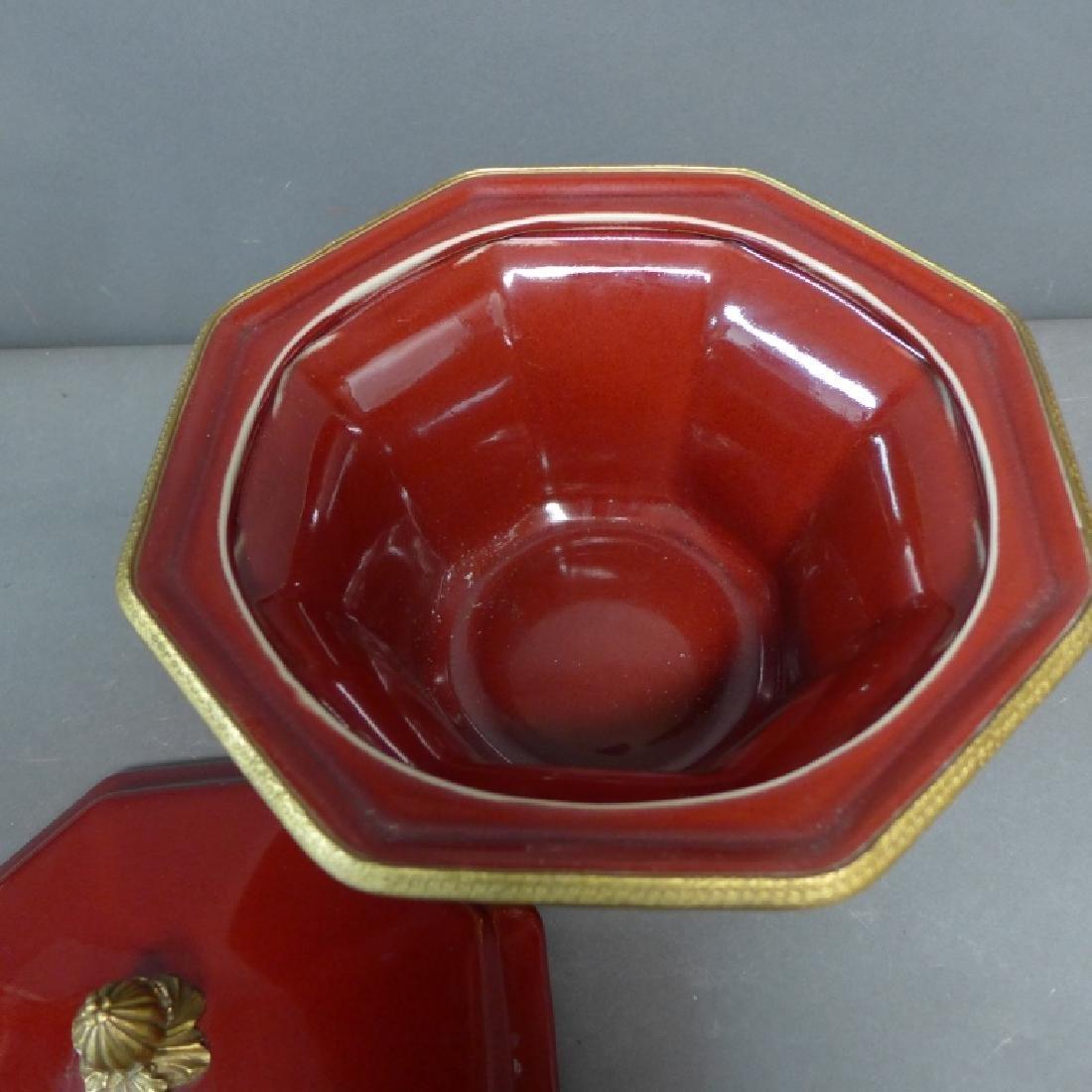 Bronze Mounted Flambe Pottery Centerpiece - 6