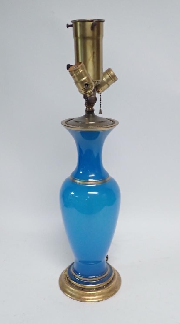 Blue Opaline Glass Lamp