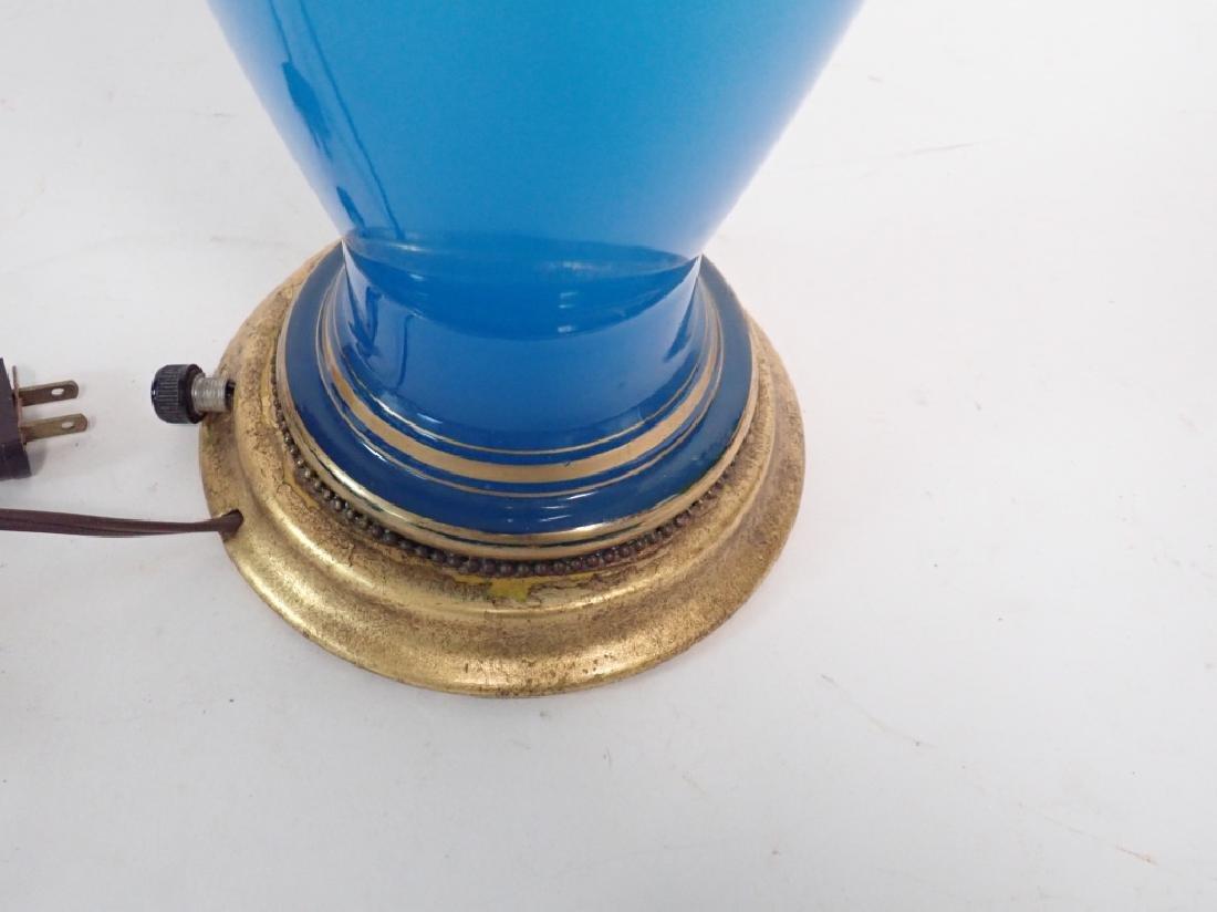 Blue Opaline Glass Lamp - 5