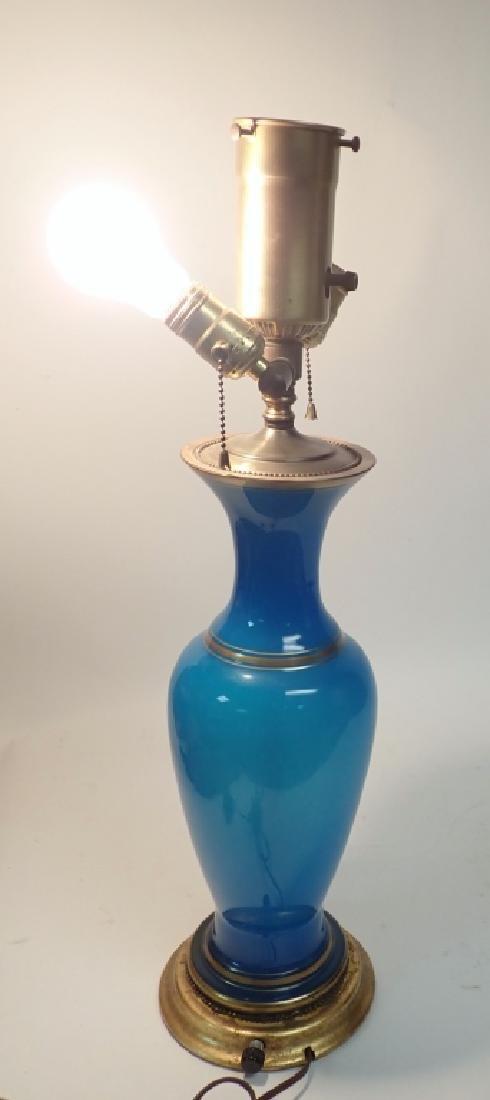 Blue Opaline Glass Lamp - 8