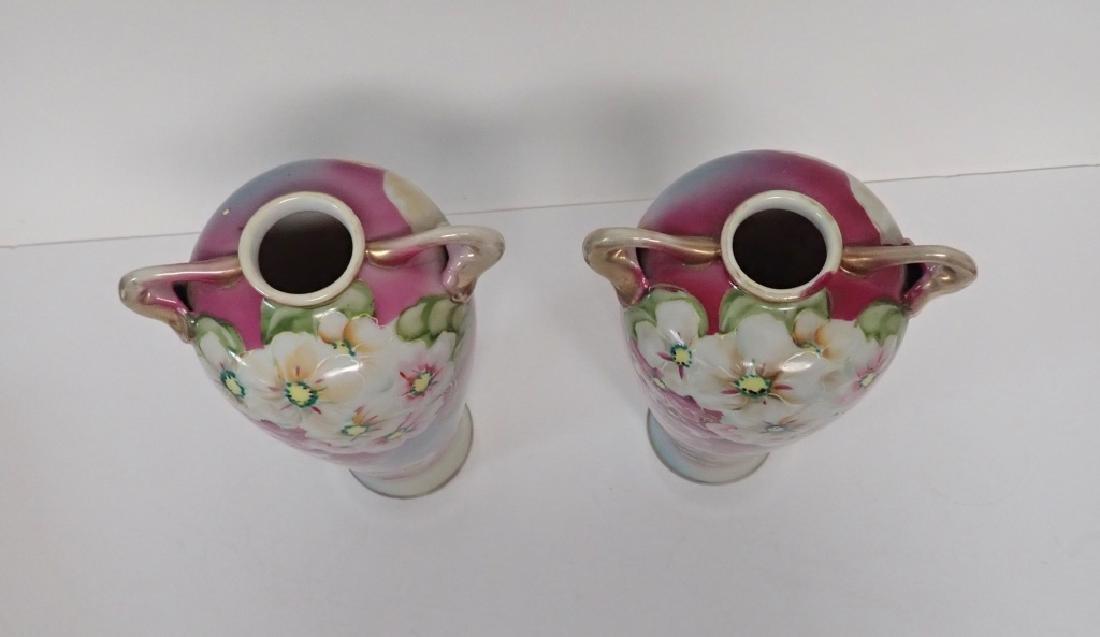 Pair Floral Porcelain Double Handled Urns - 10