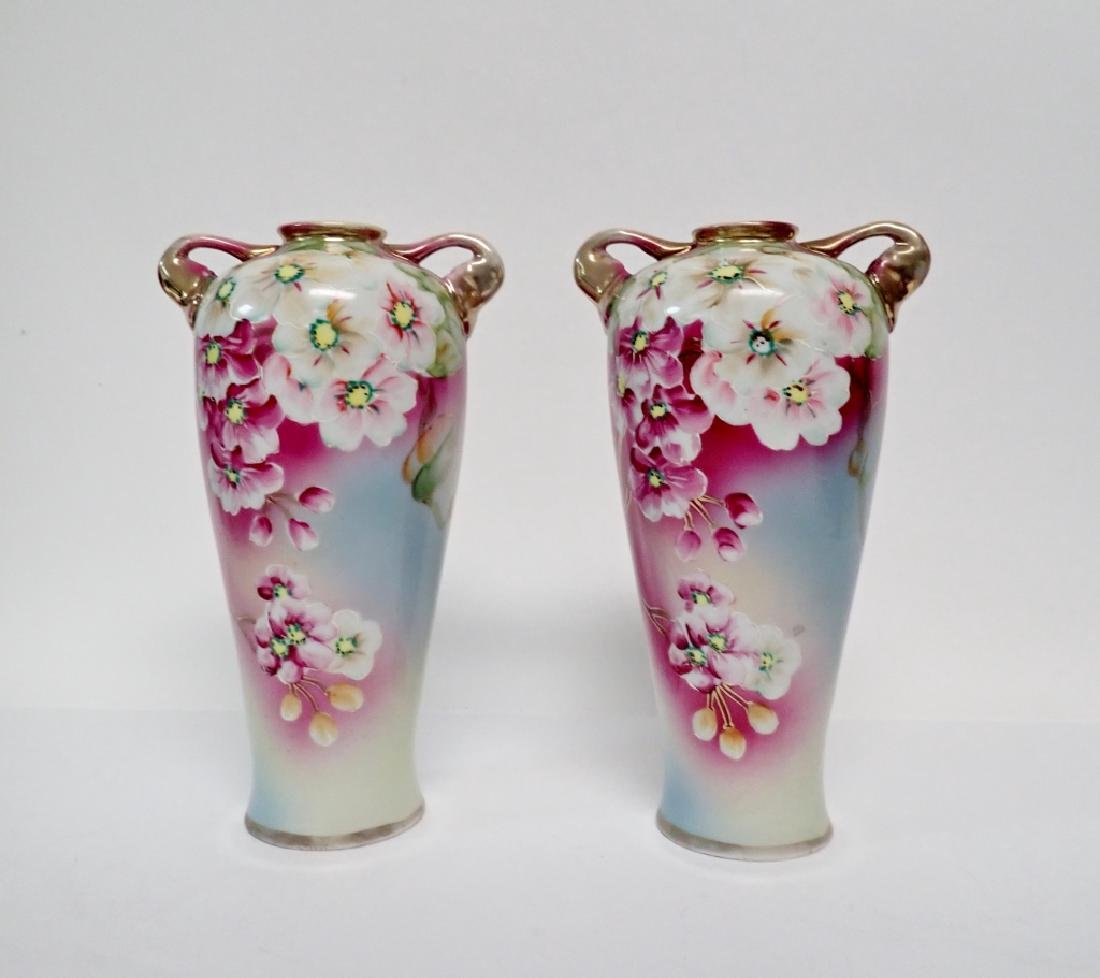 Pair Floral Porcelain Double Handled Urns