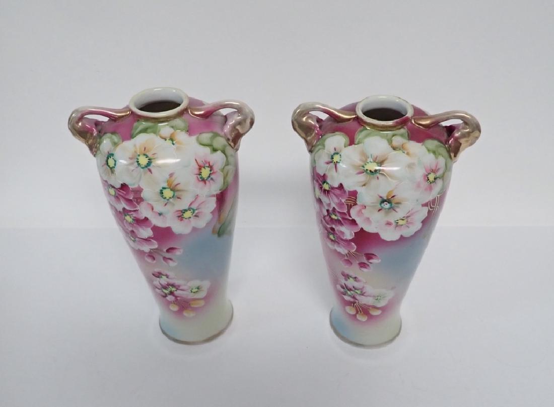 Pair Floral Porcelain Double Handled Urns - 2