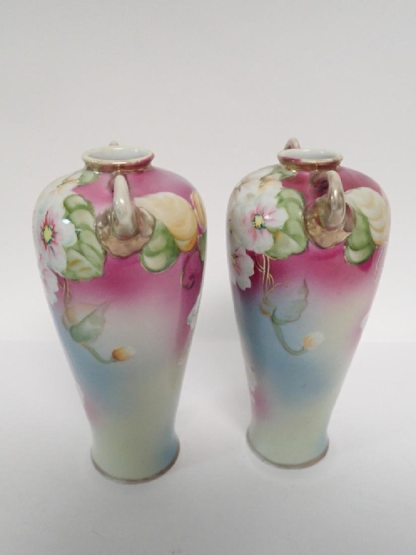 Pair Floral Porcelain Double Handled Urns - 3