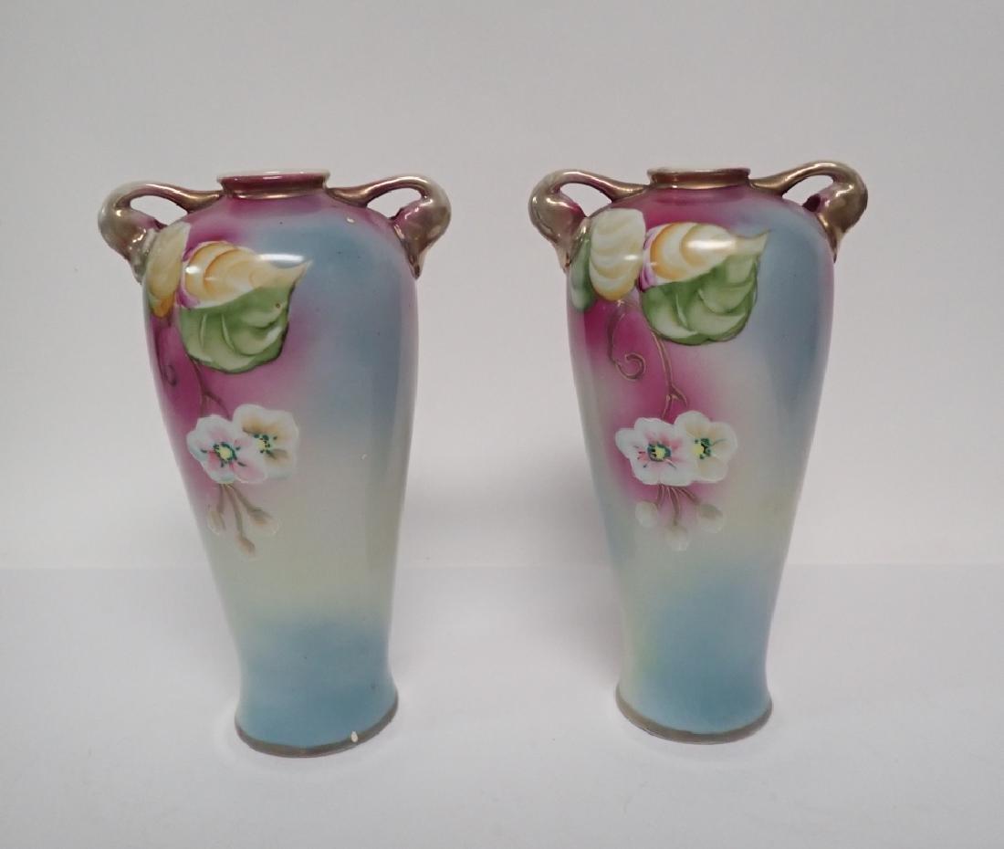 Pair Floral Porcelain Double Handled Urns - 4