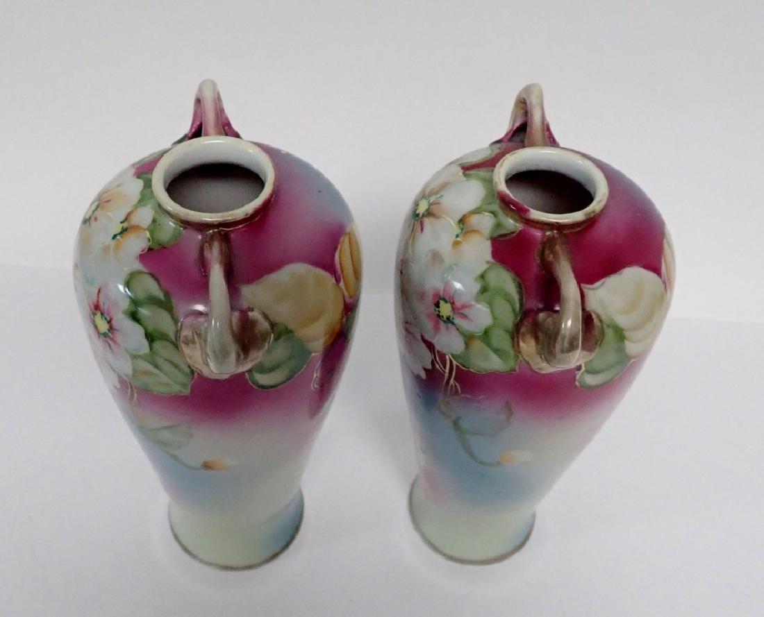 Pair Floral Porcelain Double Handled Urns - 5
