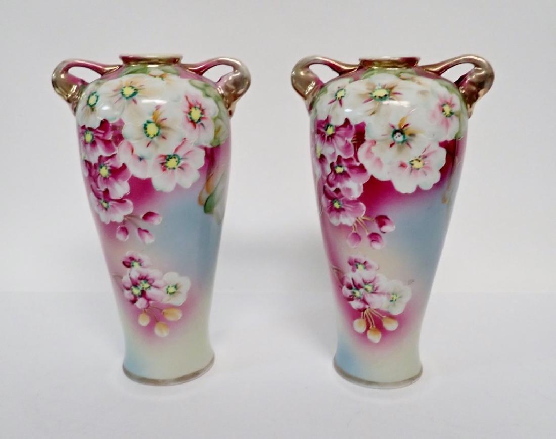 Pair Floral Porcelain Double Handled Urns - 6