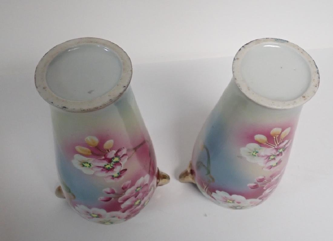 Pair Floral Porcelain Double Handled Urns - 8