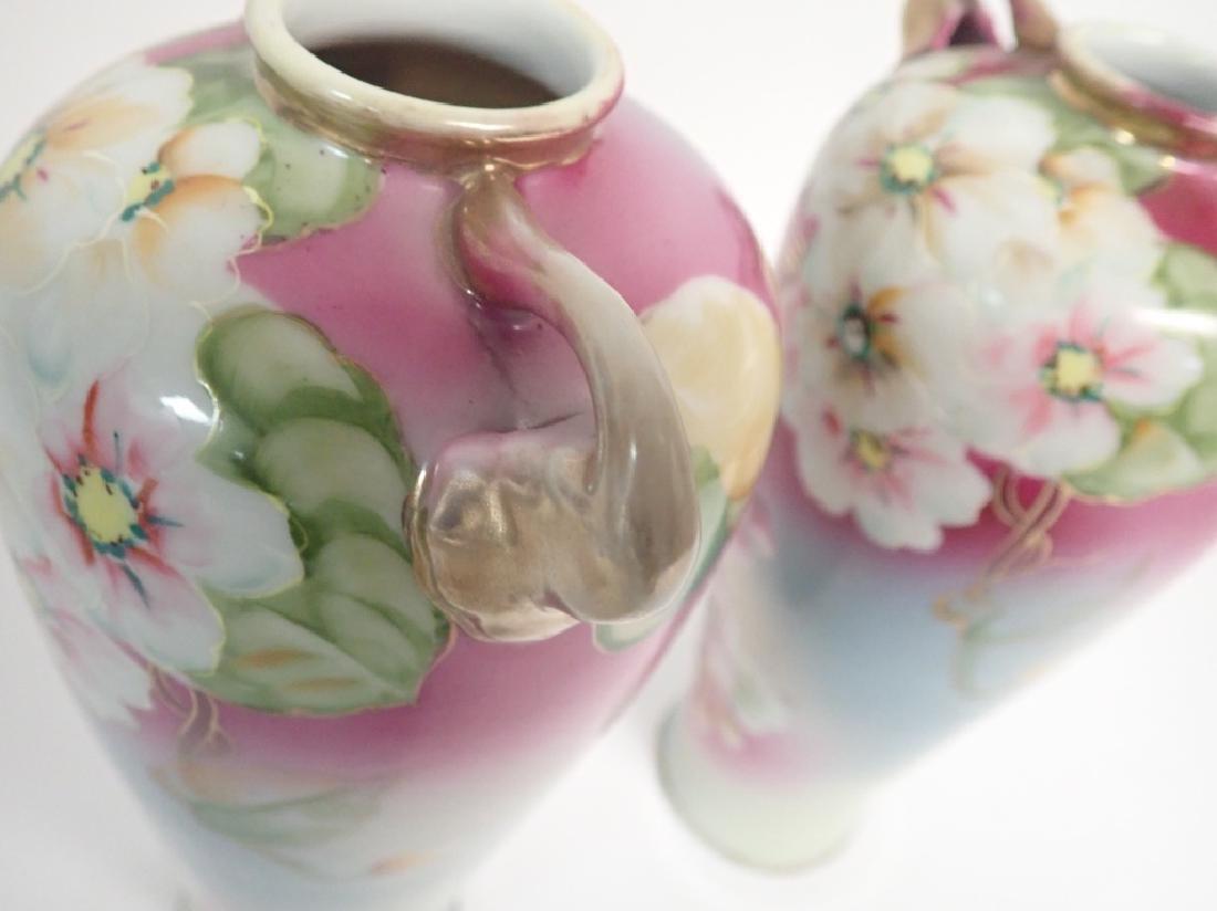 Pair Floral Porcelain Double Handled Urns - 9