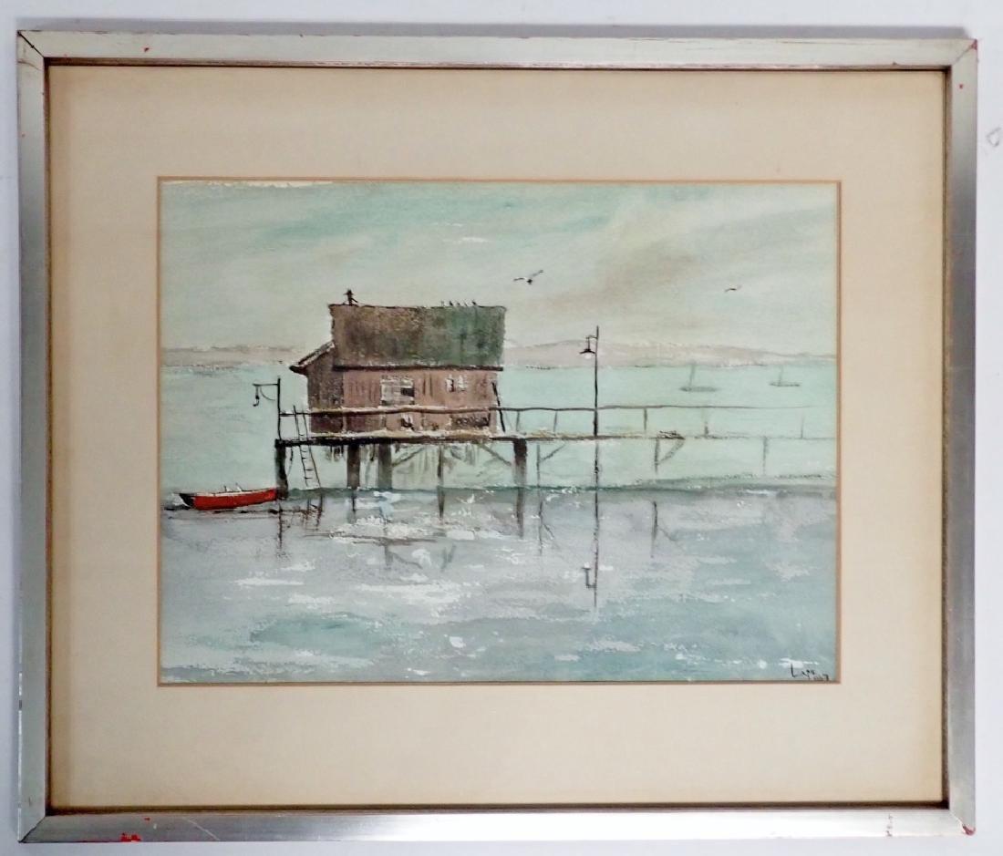 Signed Vintage Watercolor Boathouse Scene