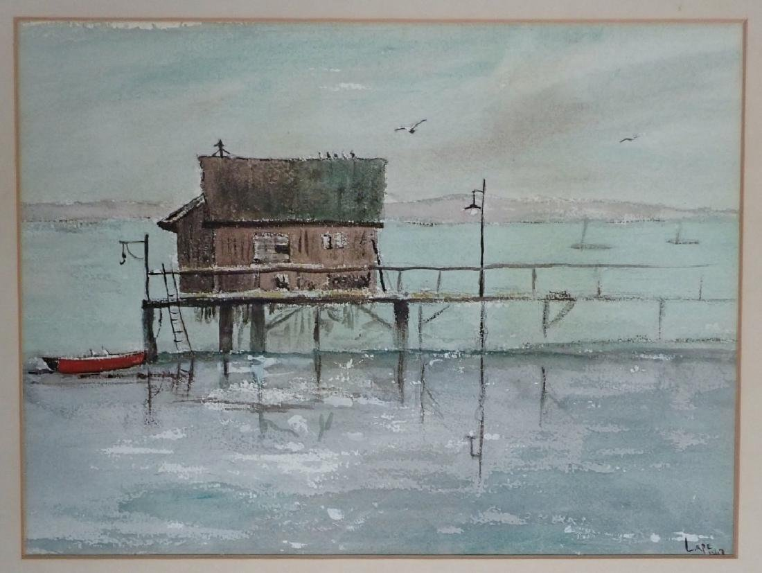 Signed Vintage Watercolor Boathouse Scene - 2