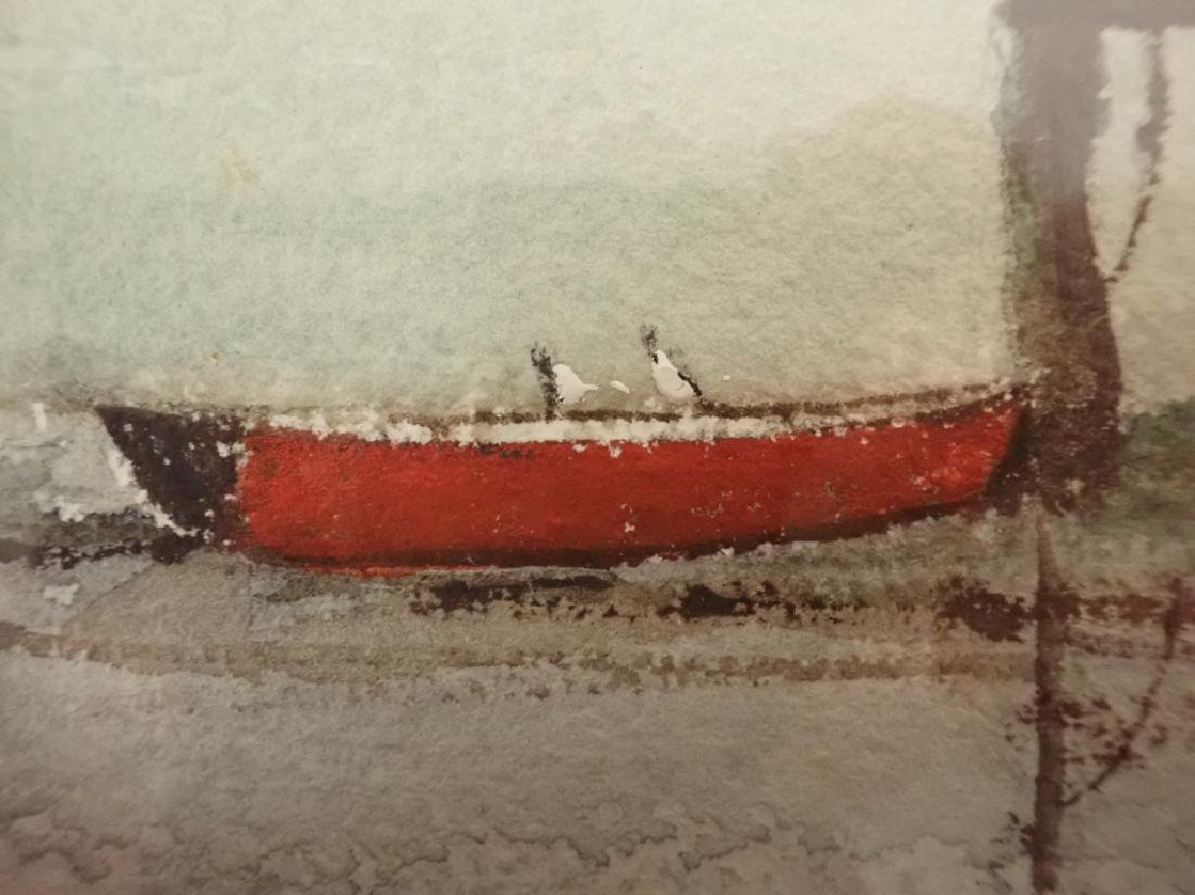 Signed Vintage Watercolor Boathouse Scene - 4