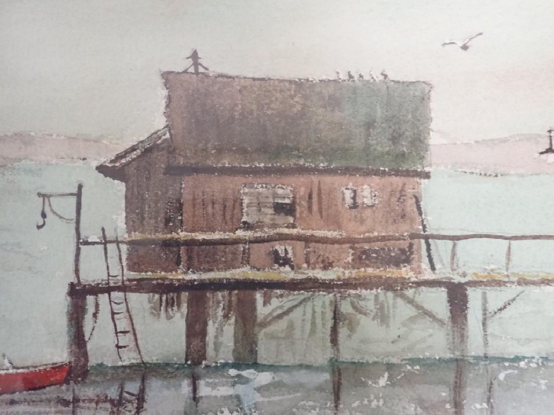 Signed Vintage Watercolor Boathouse Scene - 5