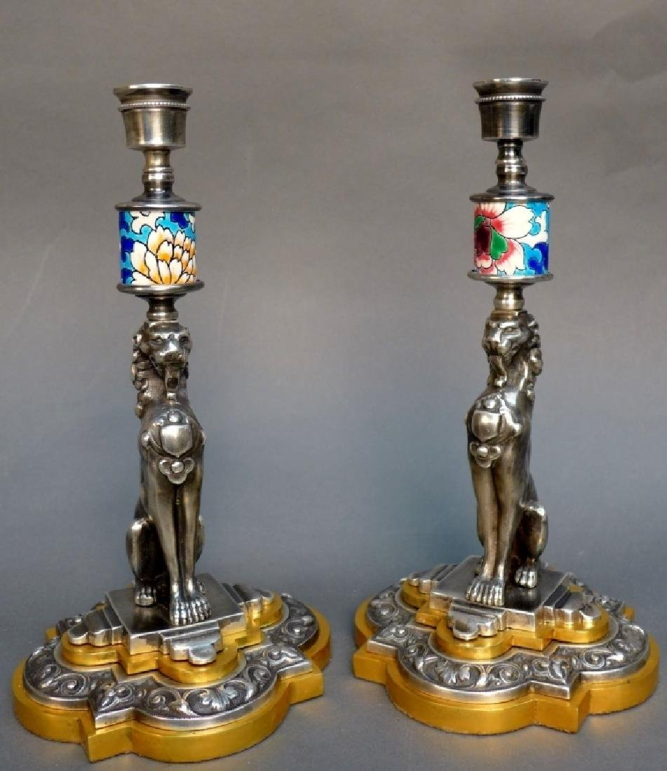 Pair of Silver Over Bronze & Longwy Candlesticks