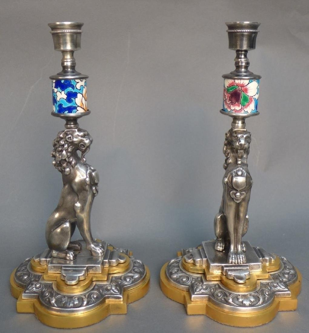 Pair of Silver Over Bronze & Longwy Candlesticks - 3