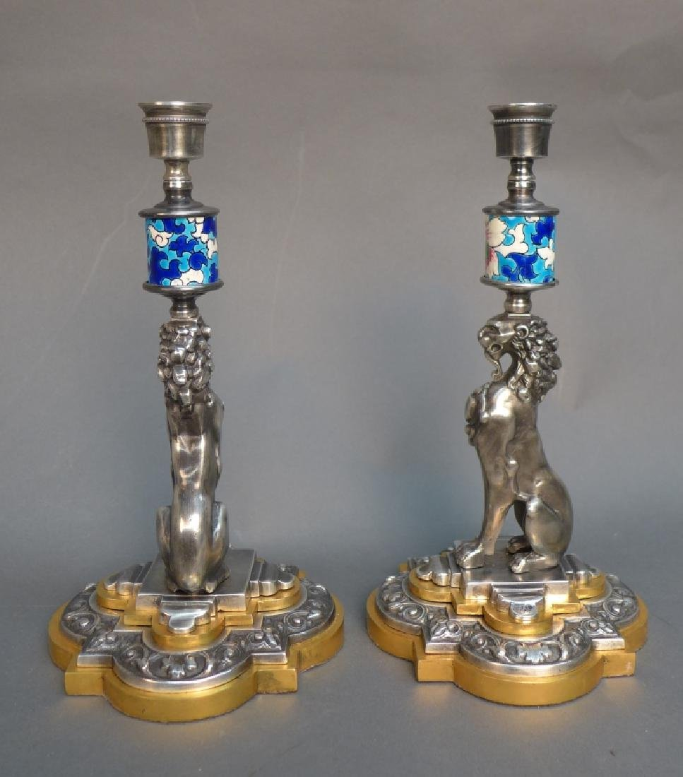 Pair of Silver Over Bronze & Longwy Candlesticks - 4