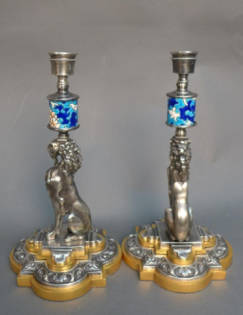 Pair of Silver Over Bronze & Longwy Candlesticks - 5