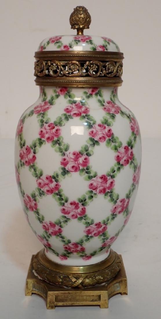 Continental Porcelain Bronze Mounted Vase - 2
