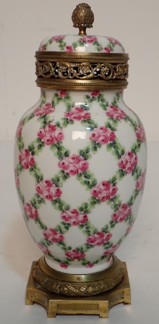 Continental Porcelain Bronze Mounted Vase - 3