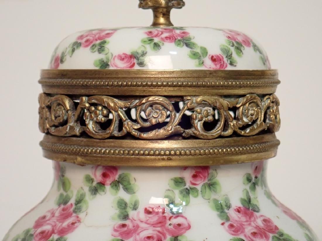 Continental Porcelain Bronze Mounted Vase - 7