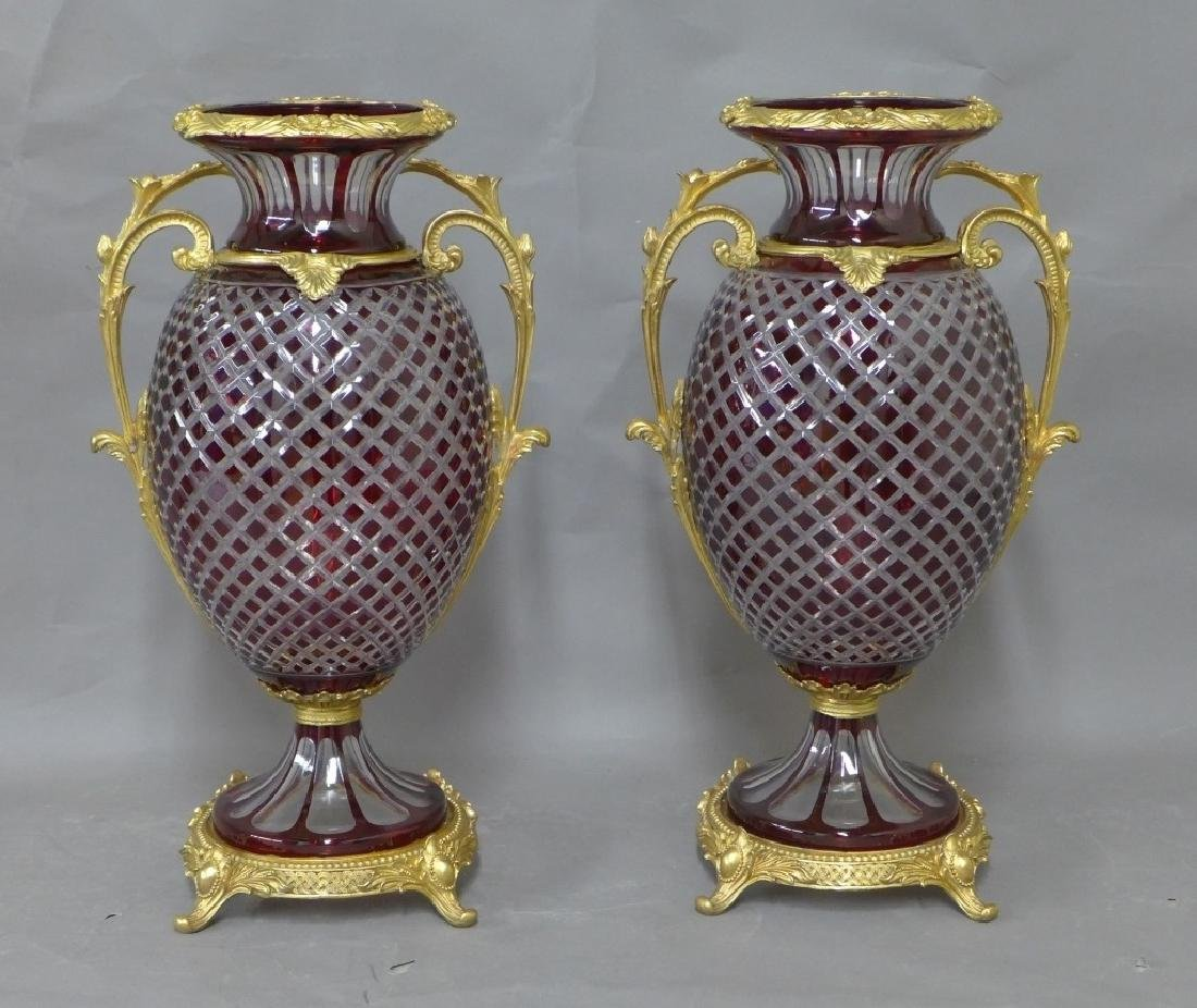 Pair Gilt Bronze and Cut Crystal Vases