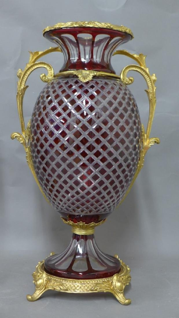 Pair Gilt Bronze and Cut Crystal Vases - 2
